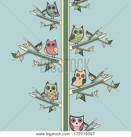 Owl on a tree branch vertical vector seamless pattern. Vector owl. Animals and bird owl. Forest nature