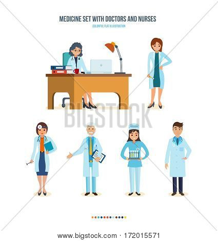 Medicine set with doctors and nurses concept. The local doctor, therapist, otolaryngologist doctor, surgeon, nurse with to research and test results. Colorful flat illustration.