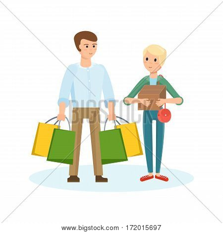 Families shopping in supermarket concept. A young couple walking through the mall, make purchases and plans further acquisitions. Vector illustration isolated on white background.