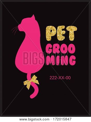 Pet beauty salon logo with vector cat silhouette.