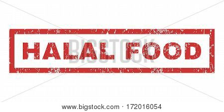 Halal Food text rubber seal stamp watermark. Tag inside rectangular shape with grunge design and dust texture. Horizontal vector red ink sign on a white background.