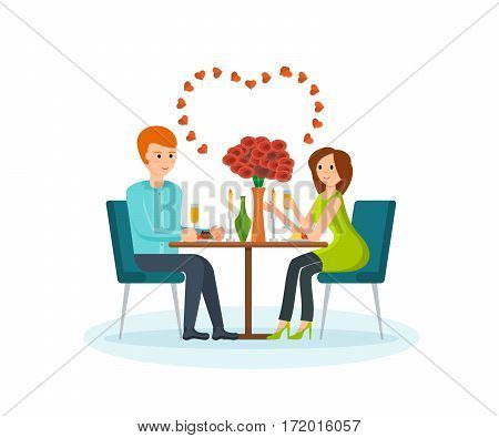 Happy couples in love concept. Enamoured couple sitting at a table in a restaurant talking and drinking champagne. Card for Valentine's Day. Vector illustration isolated on white background.