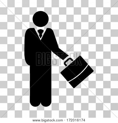Standing Businessman vector icon. Illustration style is a flat iconic black symbol on a transparent background.