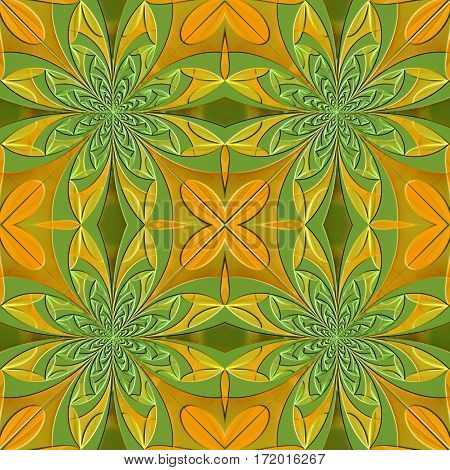 Seamless symmetrical pattern of the leaves with embossed effect. Artwork for creative design art and entertainment.