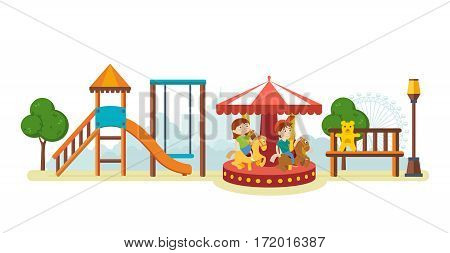 Kids on the playground concept. Children have fun in the amusement park, and ride on the carousel. Vector illustration isolated on white background.