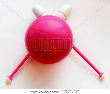Mace and ball for gymnastics on a white background