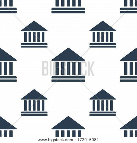 Court building vector icon seamless pattern, tiling ornament. Vector background on white.