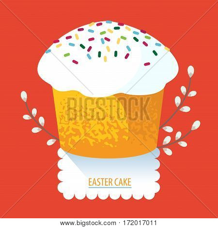 Easter cake traditional sweet food. Easter cake flat icon.