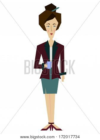 Flat female office worker, a librarian, secretary, a business lady. Business Woman Human Resources, Business Woman Cartoon Character Full Length Flat Vector Illustration