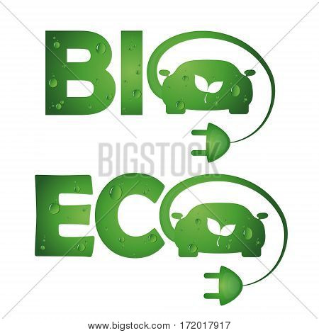 Symbols vector green bio eco cars technology