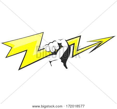 Yellow lightning in hand for vector design