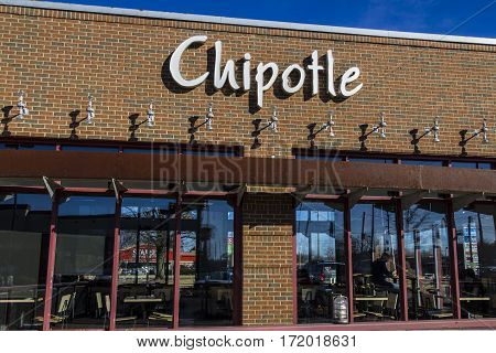Indianapolis - Circa February 2017: Chipotle Mexican Grill Restaurant. Chipotle is a Chain of Burrito Fast-Food Restaurants X