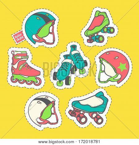 Fashion patch badges with element on the theme of roller skating, skateboarding, roller derby. Helmet, skates, skateboards, quads