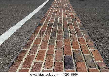 Indianapolis - Circa February 2017: The Yard Of Bricks At Indianapolis Motor Speedway. Ims Prepares