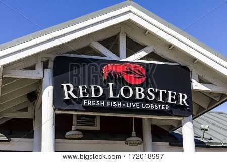 Indianapolis - Circa February 2017: Red Lobster Casual Dining Restaurant Red Lobster is owned by Golden Gate Capital I