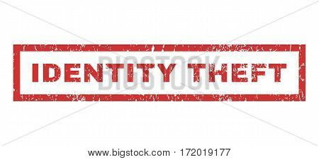 Identity Theft text rubber seal stamp watermark. Tag inside rectangular banner with grunge design and unclean texture. Horizontal vector red ink emblem on a white background.