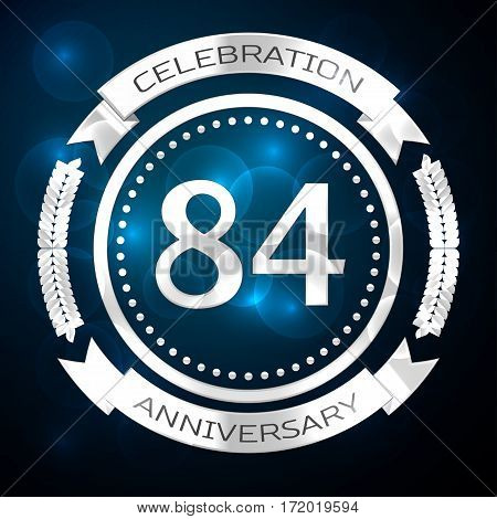 Eighty four years anniversary celebration with silver ring and ribbon on blue background. Vector illustration