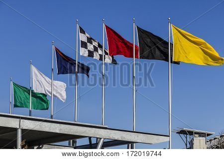 Indianapolis - Circa February 2017: The Seven Racing Flags At Indianapolis Motor Speedway. Ims Prepa