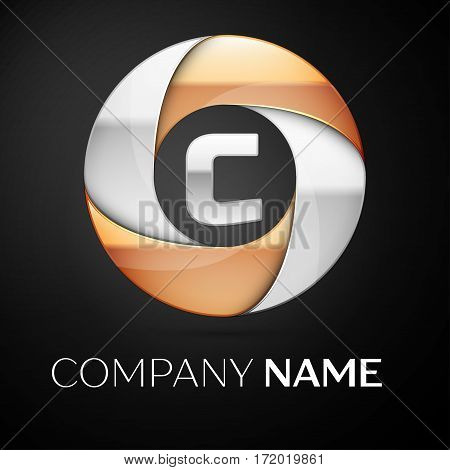 Letter C vector logo symbol in the colorful circle on black background. Vector template for your design