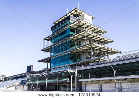 Indianapolis - Circa February 2017: The Panasonic Pagoda at Indianapolis Motor Speedway. IMS Prepares for the 101st Running of the Indy 500 IX