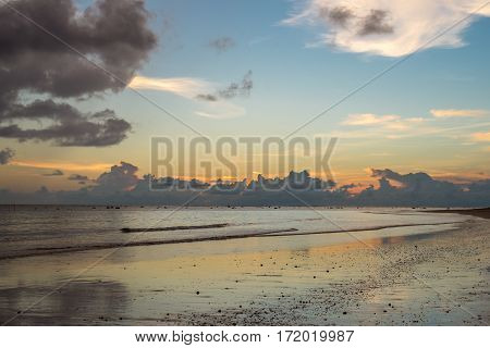 Beautiful Sky In Evening At Beach Thailand
