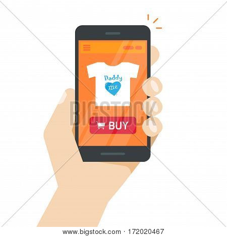 Online store on mobile phone vector illustration, internet shop website on smartphone screen in hand, product details web page with buy button flat style, concept of ecommerce, mobile shopping