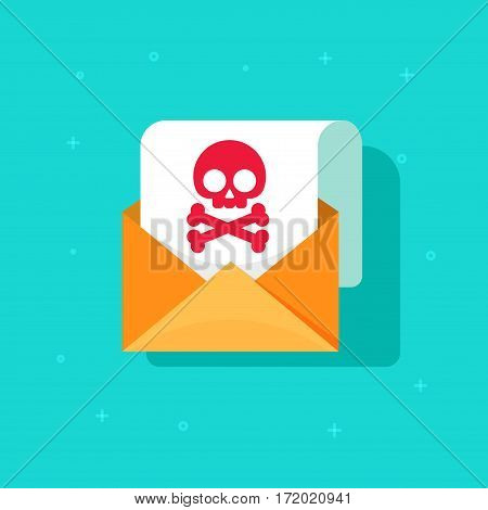 Email spam icon idea, scam e-mail message concept, malware alert received, internet hacking message, online phishing, open envelope with skull bones on paper sheet document vector symbol