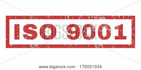 ISO 9001 text rubber seal stamp watermark. Tag inside rectangular banner with grunge design and dirty texture. Horizontal vector red ink sign on a white background.