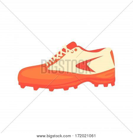 Sportive Sneakers Special Footwear, Part Of Baseball Player Ammunition And Equipment Set Isolated Objects. Cartoon Realistic Sport Related Item Vector Illustration