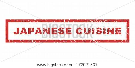 Japanese Cuisine text rubber seal stamp watermark. Tag inside rectangular shape with grunge design and unclean texture. Horizontal vector red ink emblem on a white background.