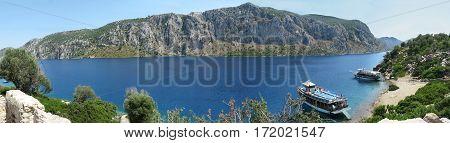 panorama of the aegean sea bird eye view Marmaris Turkey
