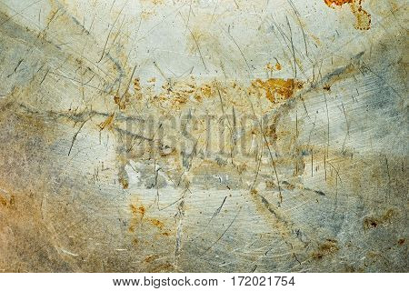 Frame For Inscriptions On The Scratched Rusty Old Metal Texture. Grunge Iron Industrial Metal Backgr