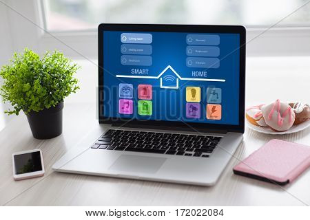 laptop notebook with app smart home and phone on desk in room