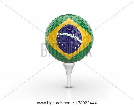 Golf Ball Brazil Flag 3D Illustration