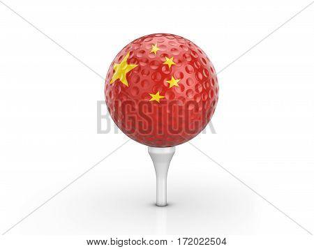Golf Ball China Flag 3D Illustration