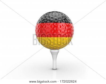 Golf Ball Germany Flag 3D Illustration