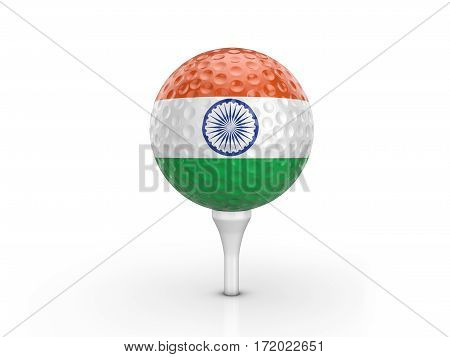 Golf Ball India Flag 3D Illustration