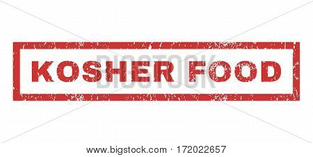 Kosher Food text rubber seal stamp watermark. Caption inside rectangular banner with grunge design and scratched texture. Horizontal vector red ink sticker on a white background.