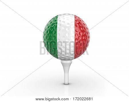 Golf Ball Italy Flag 3D Illustration