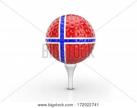 Golf Ball Norway Flag 3D Illustration