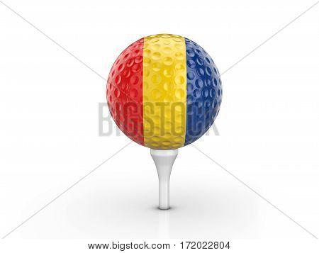 Golf Ball Romania Flag 3D Illustration