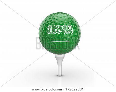 Golf Ball Saudi Arabia Flag 3D Illustration