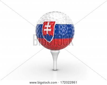 Golf Ball Slovakia Flag 3D Illustration