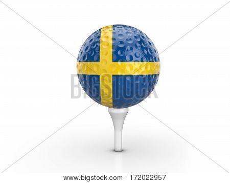 Golf Ball Sweden Flag 3D Illustration