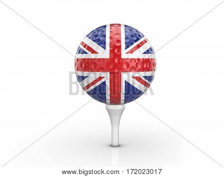 Golf Ball Uk Flag 3D Illustration