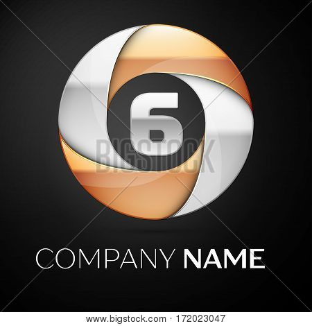 Number six vector logo symbol in the colorful circle on black background. Vector template for your design
