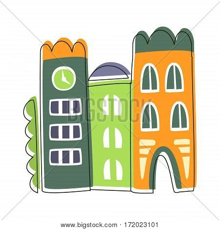 Narrow Houses Stuck To Each Other, Cute Fairy Tale City Landscape Element Outlined Cartoon Illustration. Fantasy Town Cityscape Architectural Object In Childish Design.