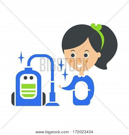 Cleanup Service Maid And Vacuum Cleaned Floor, Cleaning Company Infographic Illustration. Professional Cleaner And Her Work Flat Icon In Green And Blue Color.