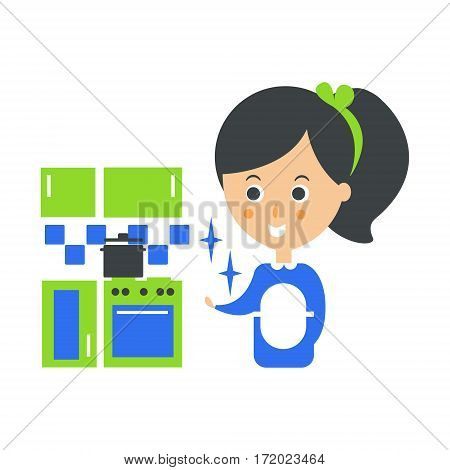 Cleanup Service Maid And Clean Kitchen, Cleaning Company Infographic Illustration. Professional Cleaner And Her Work Flat Icon In Green And Blue Color.