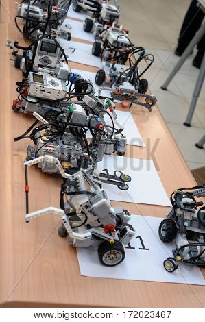 Tyumen Russia - February 16. 2017: Open championship of professional skill among youth. World skills Russia Tyumen - 2017. Robots made of Lego blocks